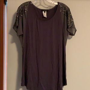 Gray Sequin Blouse
